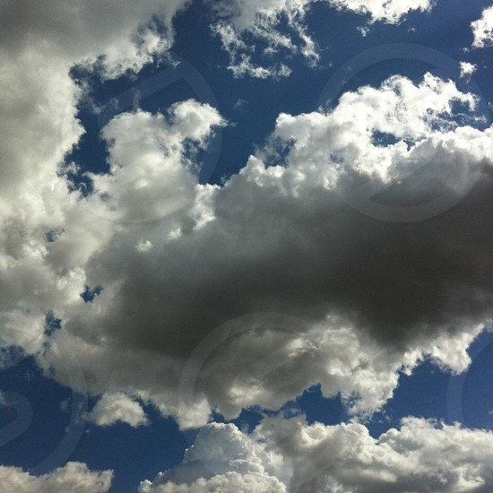 wormeye view of white clouds and blue sky photo