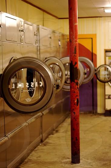 Laundry laudromat dryers empty photo