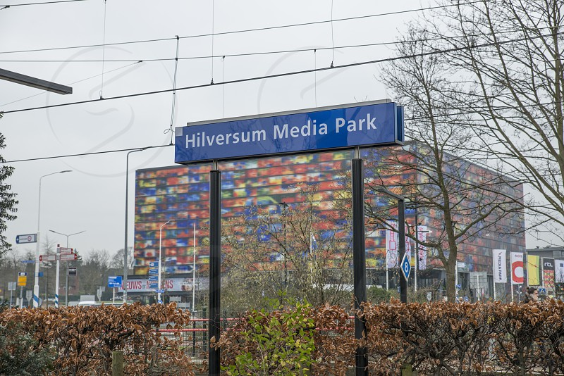 Train station Hilversum media park at the building of the dutch television and radio broadcasting photo