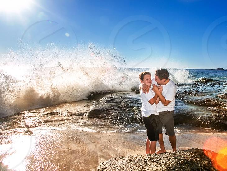 Josh and his son at Laguna beach photo