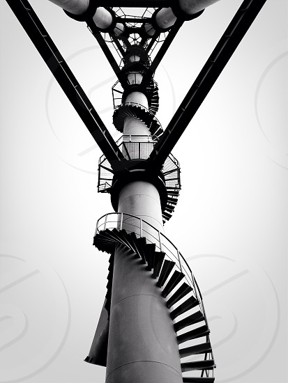 spiral staircase black and white photo photo