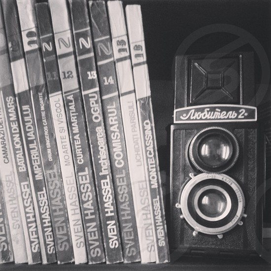 books camera black and white instagram mood photo