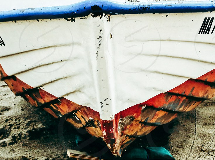 Boating lifestyle  boat front fading closeup photo