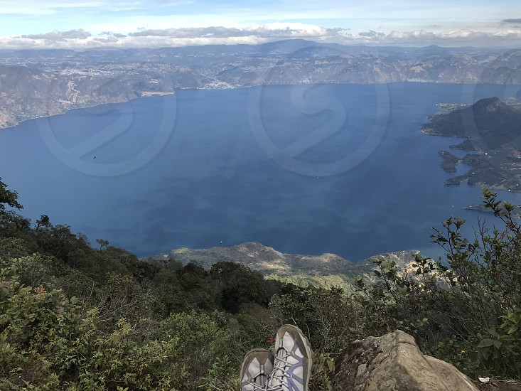beautiful views of lake Atitlan Guatemala . Lake front and volcano views  photo