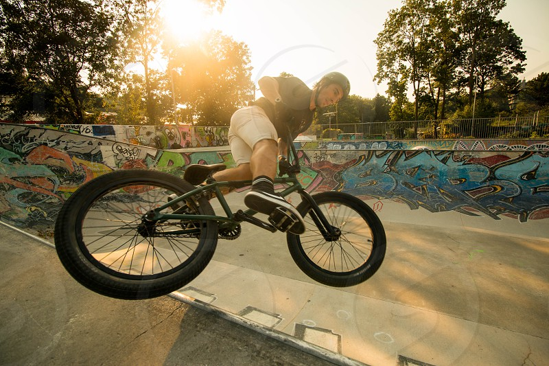 BMX Vienna Bowl Sunset Street Urban Tireslide Grafitti Graffiti Sun Day Art photo