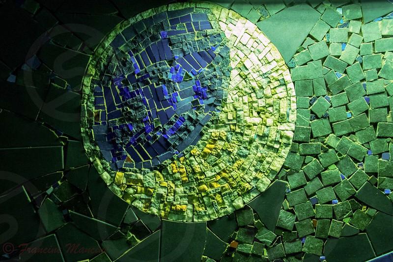Round circle mosaic tiles blue green photo