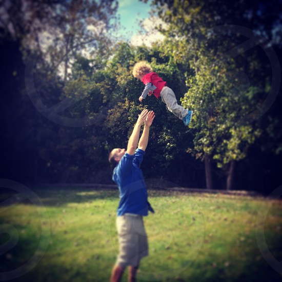 Falling Baby Father Son Playful photo