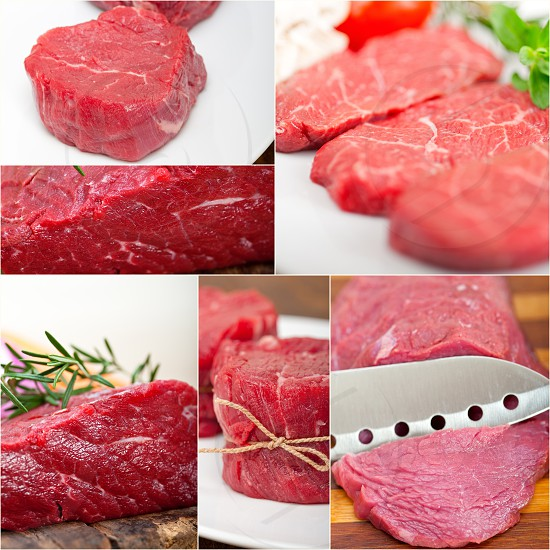 collection of different raw beef cuts collage white frame photo