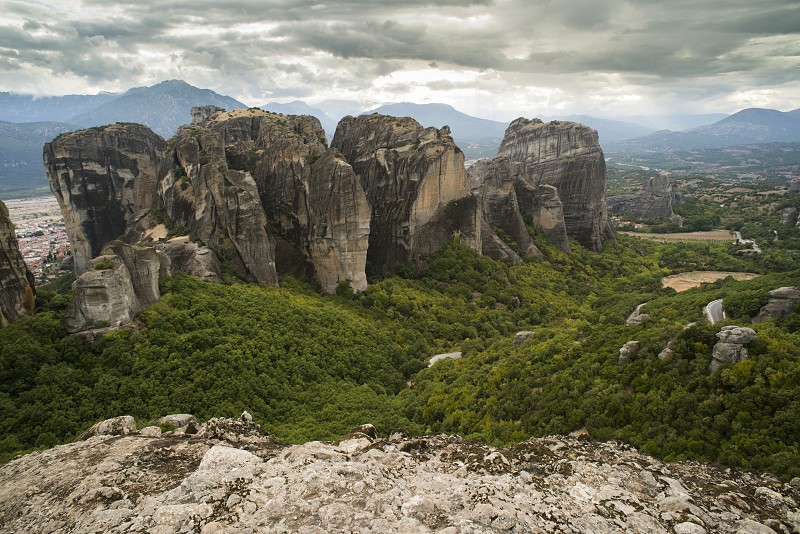 Meteora in Greece. Meteora is the monasteries on the top of the rock towers. photo