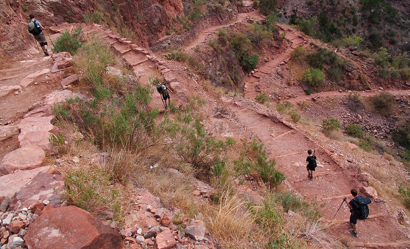 Backpacking in the Grand Canyon. Southwest desert. Switchbacks. Height. Vertigo. Trail. Rapid Descent. Down. Downward. Altitude change. Bright Angel Trail. photo