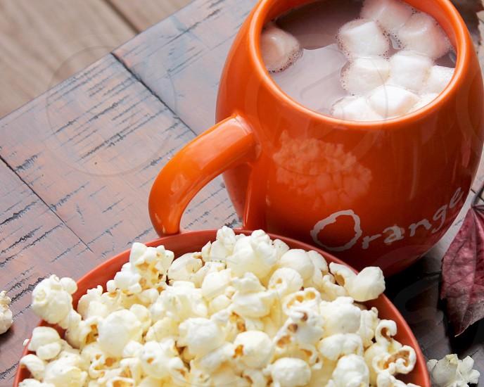 hot chocolate and popcorn photo