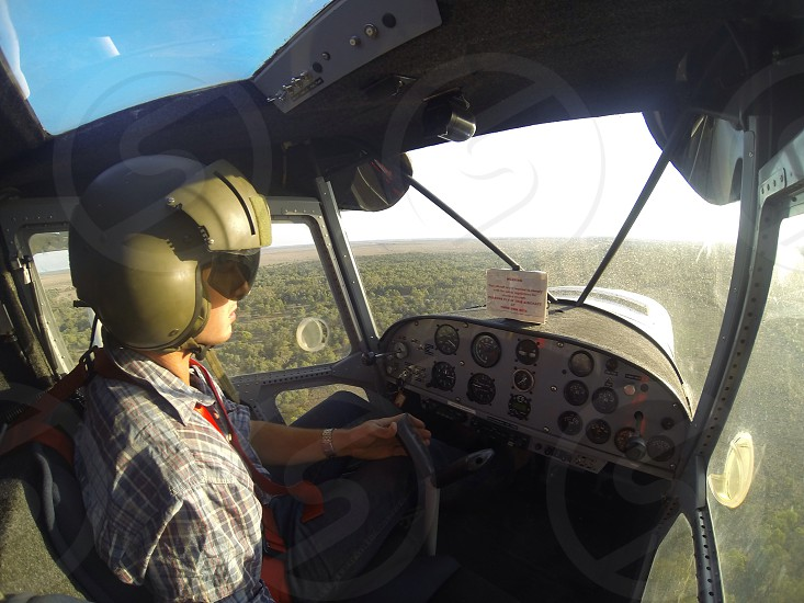 A pilot flys low spotting for cattle in Western Queensland Australia  photo