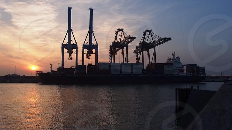 Port sunset ships containership marine traffic shipping photo