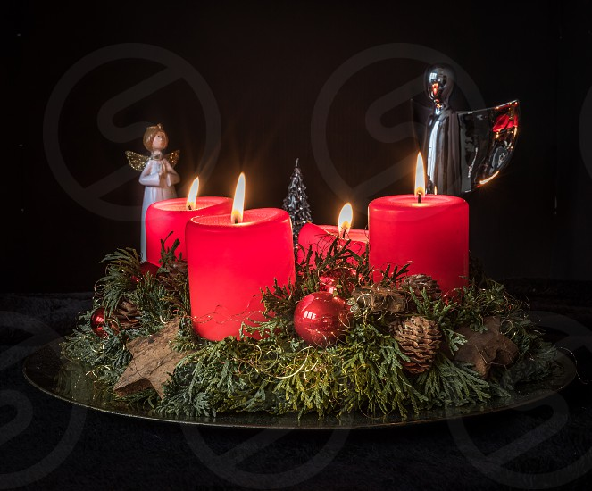 Advent wreath with candles on 4th advent photo
