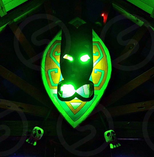 Tiki mask bar outdoors lighting photo