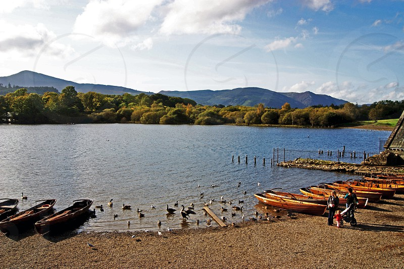 ENGLAND. Keswick Cumbria. The shore of Derwentwater by the Cumbria town of Keswick in the Lake District. photo
