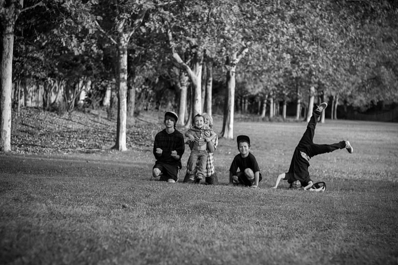 Kids brothers playing at park  photo
