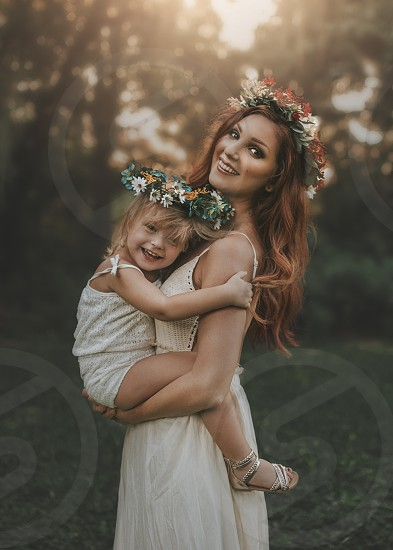 Mother daughter Mother's Day flower crown flowers summer sun warm photo
