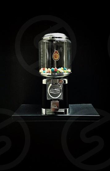 black chrome and clear glass bubblegum dispenser photo