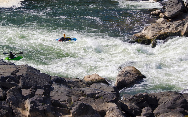 Canoe sport extreme danger waterfall autumn cold brave photo