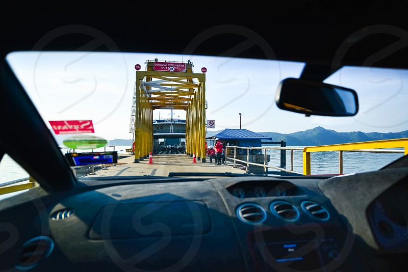 Boarding the ferry boat to cross the straits photo