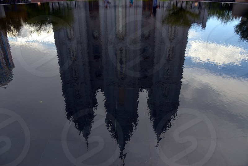 Salt Lake LDS Temple in reflecting pond. photo