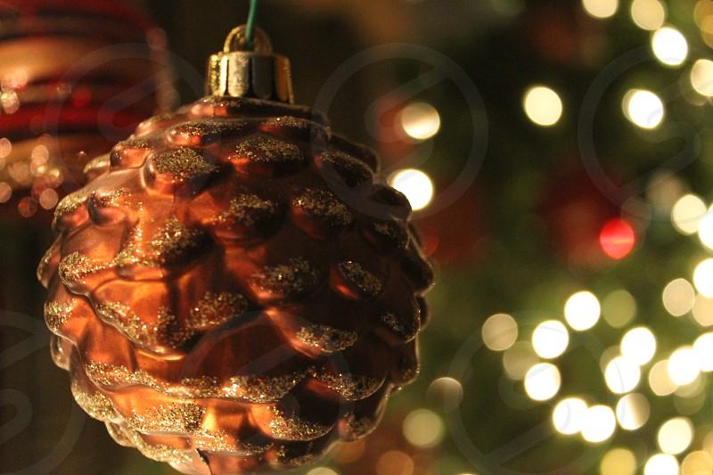 Ornaments Christmas Christmas tree pine cone glitter lights tree pretty  photo