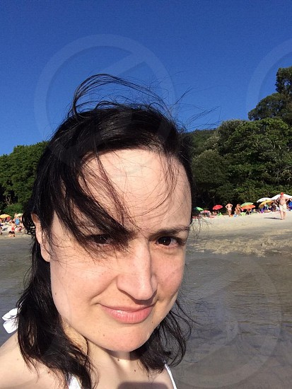 Selfie smile beach enjoying the beach photo