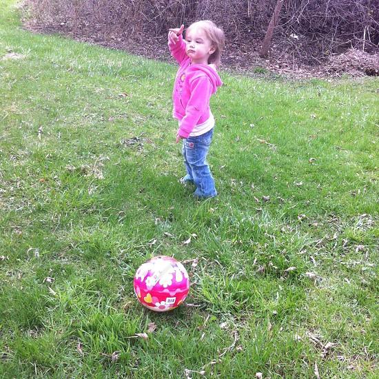 Outside fun with kickball photo