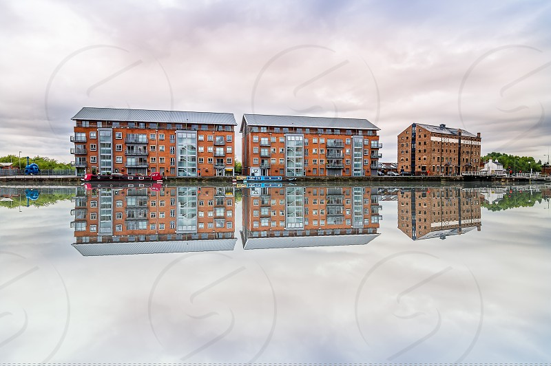 Gloucester Docks at sunset a cloudy day photo