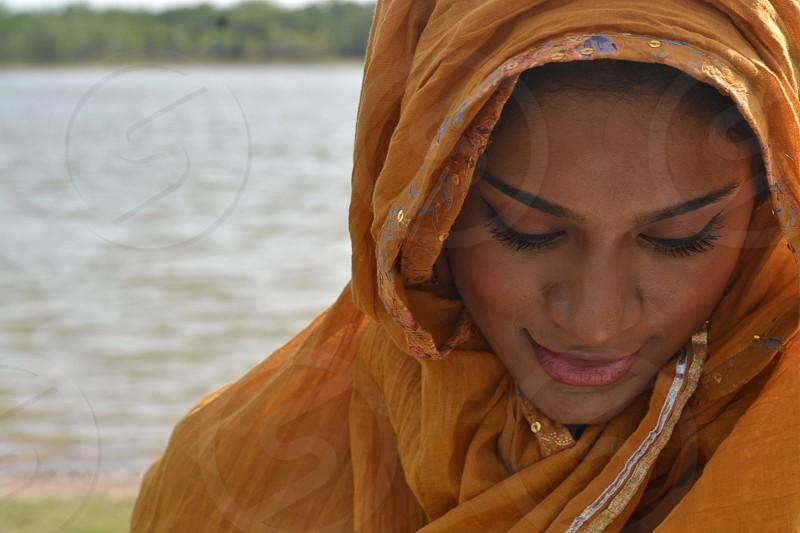hijab culture textiles orange muslim gorgeous female  photo