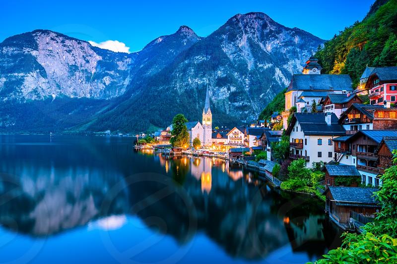 Hallstatt in Austria and Fairytale Lake.  photo