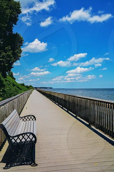 Bench overlooking bay photo