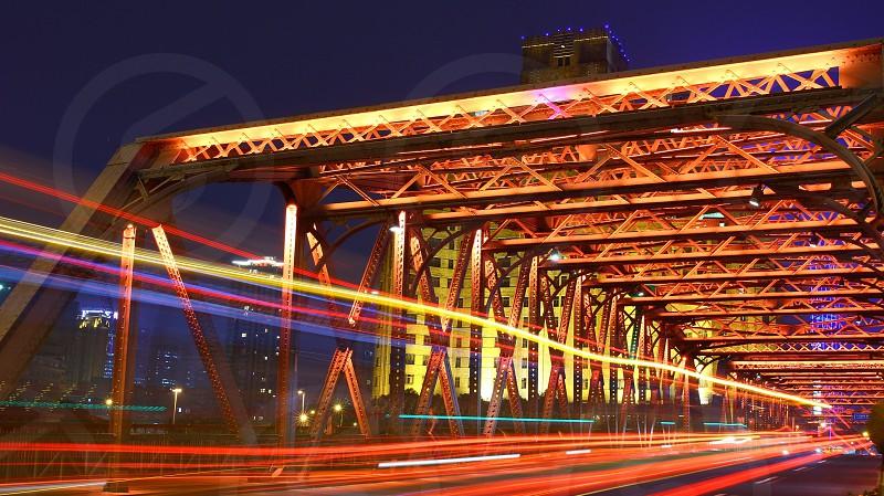 China Shanghai Bridge Night Lightstream photo