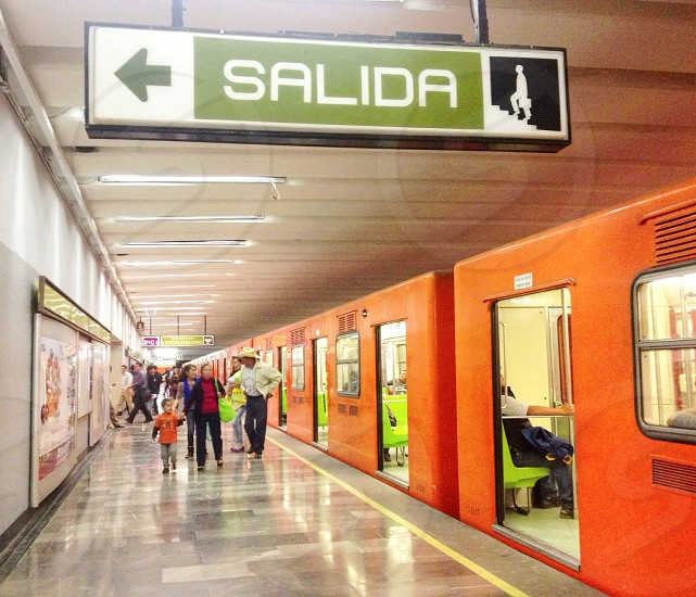 subway train exit sign photo
