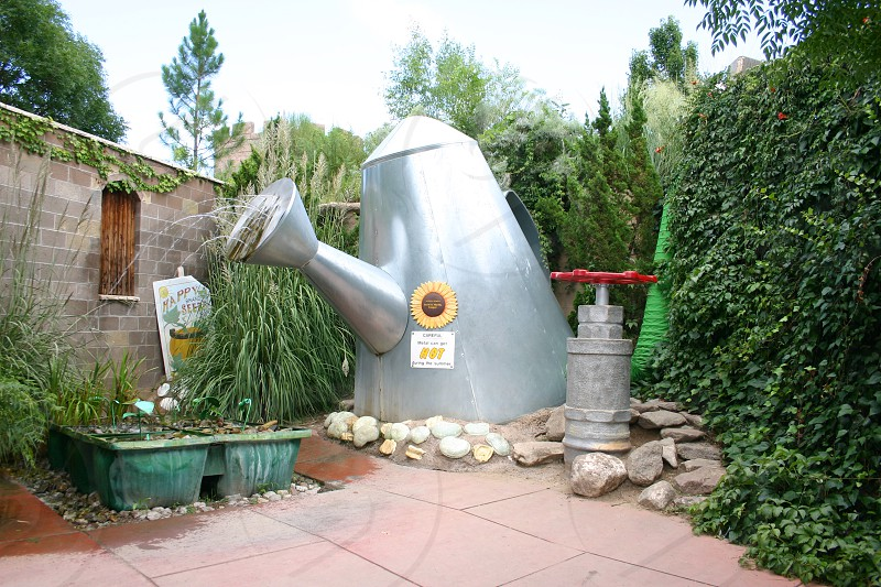 Giant Watering can at the botanical gardens in Albuquerque New Mexico. photo