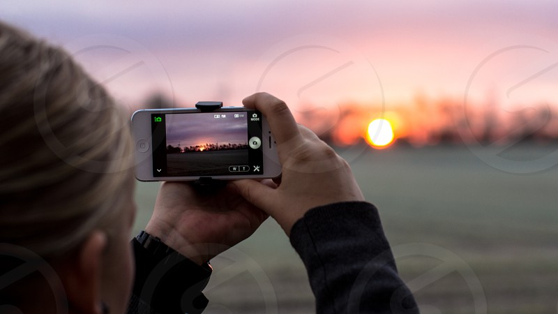 Sunrise in frosty Weather. Pic of Taking a PIC with Iphone and Sony optics. photo