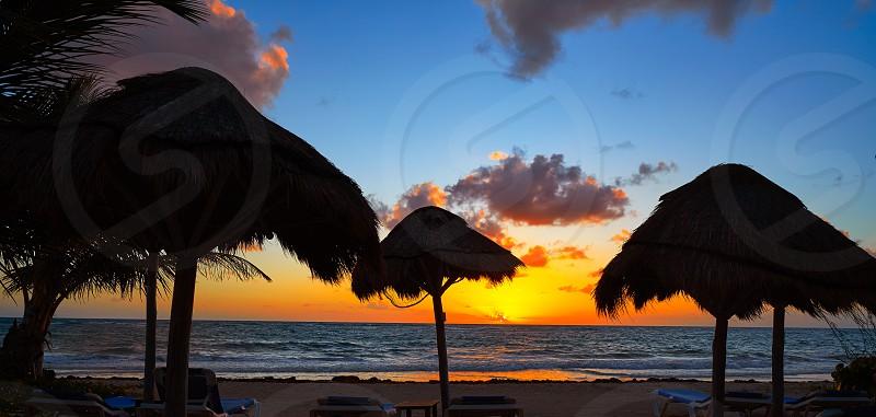 Mahahual Caribbean beach sunrise sunroof in Costa Maya of Mayan Mexico photo