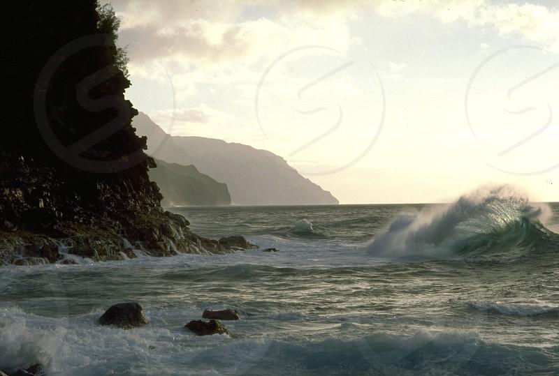 Ocean Waves Rocks British Columbia Canada photo
