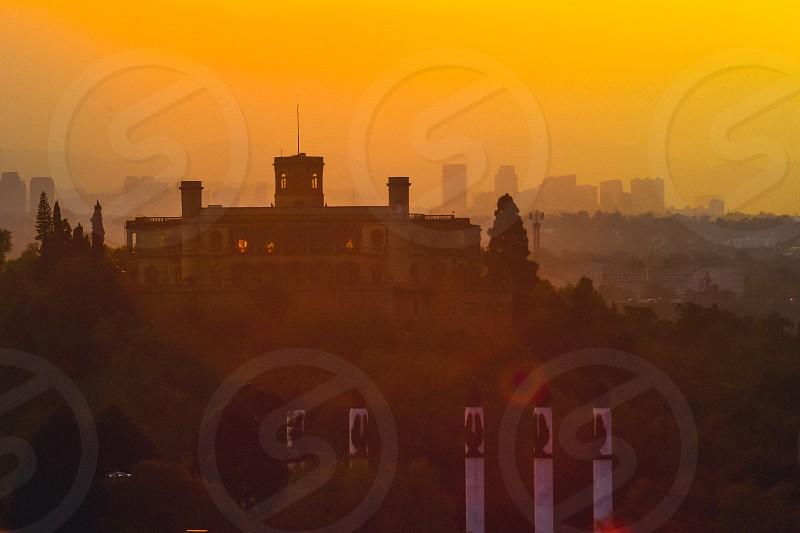 Landscape of the wonderful Chapultepec Castle on a sunset. Unique monarchist castle in America. photo