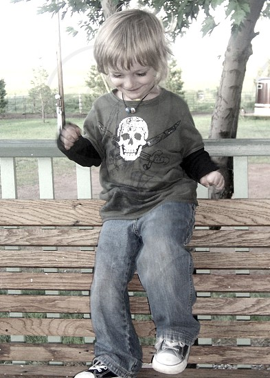 children's black crew neck skull graphic t shirt photo