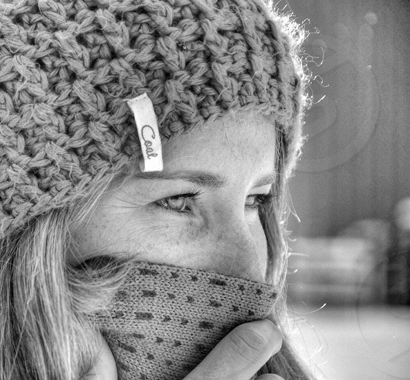 woman wearing a knitted beanie hat photo