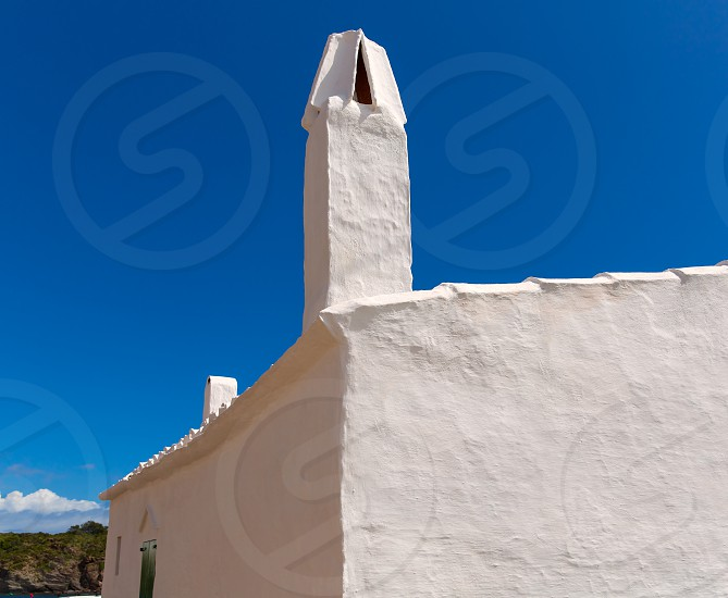 Menorca Es Grau white house chimney detail in Balearic Islands photo