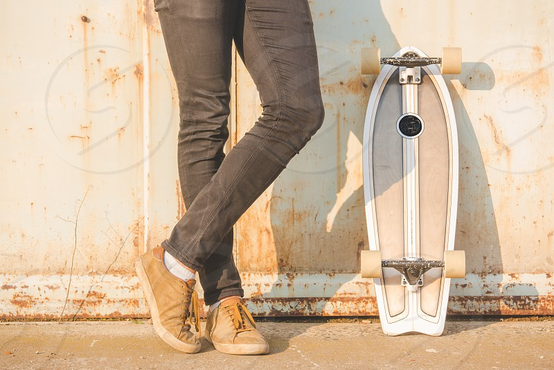 Man Skateboarder Lifestyle Relax Hipster Concept photo
