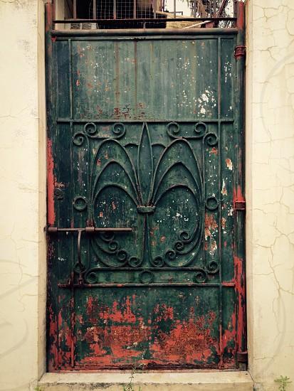 black metal door gate photo