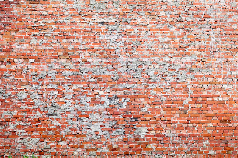 Red brick dirty background. Wide angle view. photo