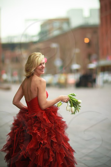 Various photos of empowered women with red clothing photo