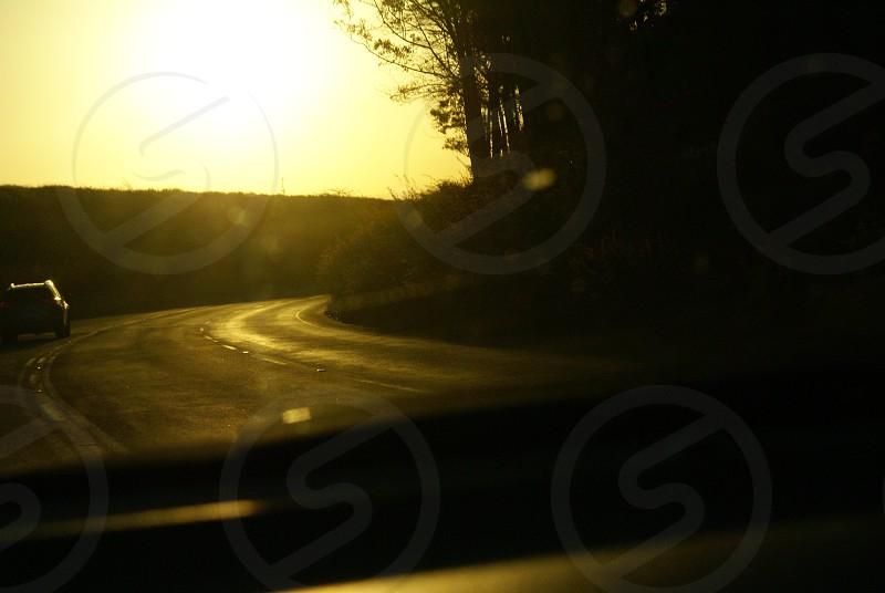 road sunset light car photo