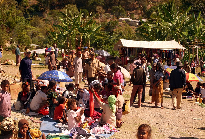 the market at the village of Aituto in the south of East Timor in southeastasia.