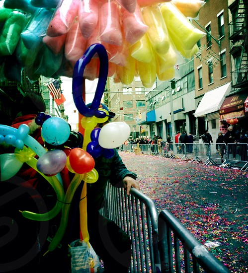 red blue white and yellow balloons photo
